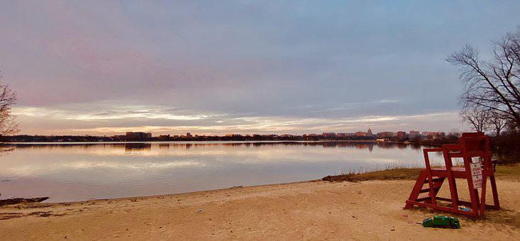 Beach, Winter, Landscape, Lake, Water, Nature