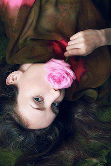 Woman, With, Pink, Rose, Flower, Sensual, Blurred, Dark