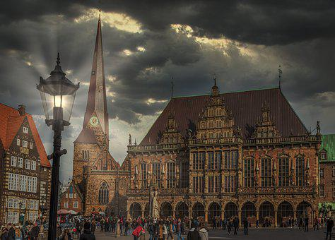Bremen, Town Hall, Dramatic, Building