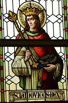 Stained Glass, Window, Church, Saint, Man, King