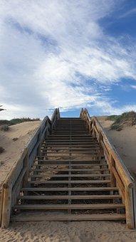 Stairs, Blue, Sky, Clouds, Sand, Guardamar Del Segura