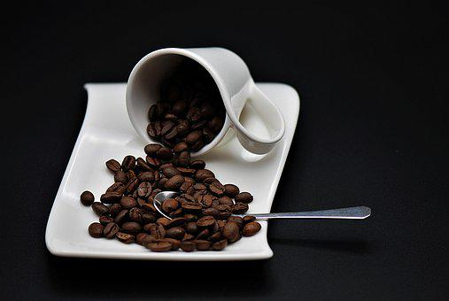 Coffee, Coffee Cup, Spoon, Coffee Beans, Porcelain
