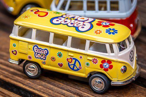 Bus, Automotive, Toys, Plastic, Colorful, Flower, Power