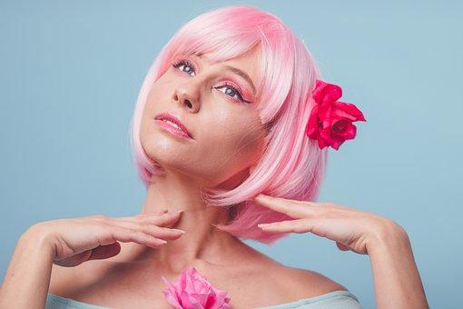 Pink Hair, Cutie, Coquette, Cute, Portrait, Girl, Hair