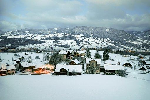 Snow Scene, House, Winter, Nature, White, Village, Tree