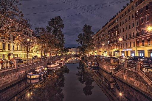 Saint Petersburg, Night, Lake, Russia, Architecture