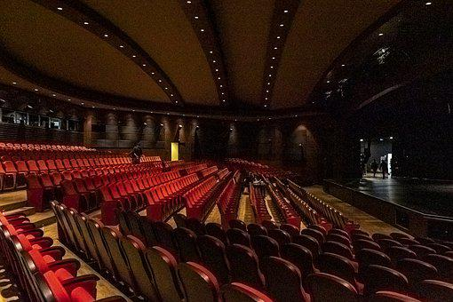 Red, Stage, Theatre, Curtain, Seats, Lighting, Show