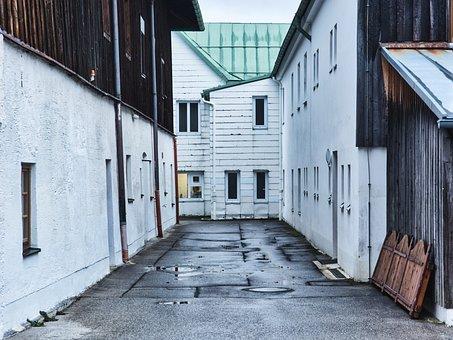 Backyard, Hof, Building, Architecture, Old, Mood