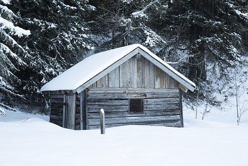 Cabin, Log, Log Cabin, Rustic, Old, Outdoors, Winter