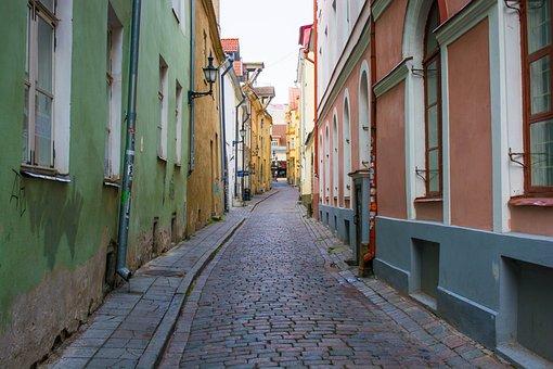 Tallinn, Street, Paving Stone, Building, City, Old Town