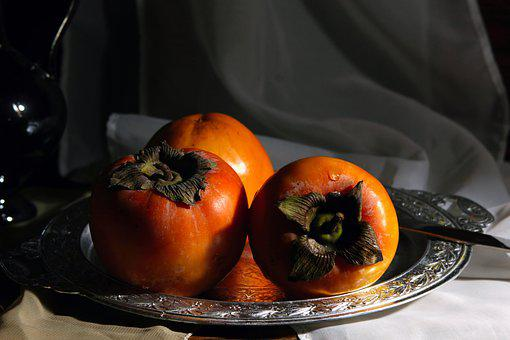Persimmon, Dish, Tray, Food, Nutrition, Dessert
