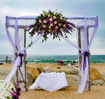 Wedding, Beach, Decor, Ocean, Purple, Flowers Love