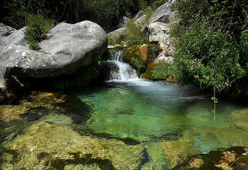 Sierra Del Pozo, Water, River, Nature, Rocks, Brook