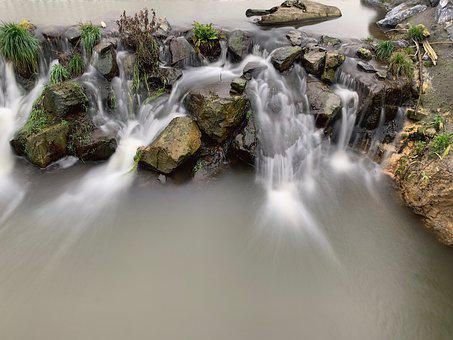 Long Exposure, Nature, Water, Cascade, Rock