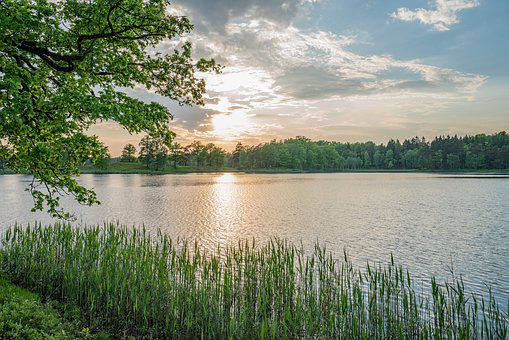 Sweden, Lake, Sunset, Sky, Reflections, Clarity, Hdr