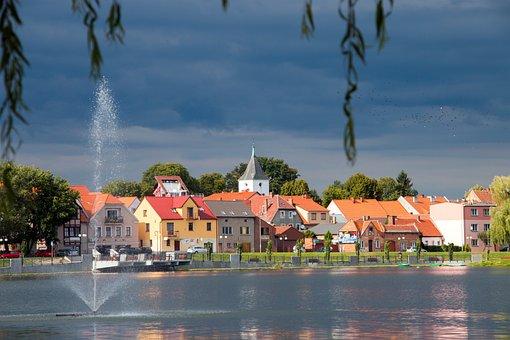 Lake, Fountain, Water, Buildings, Light, Sky