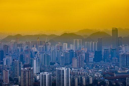 City, Cityscape, Building, Skyscraper, Sunset, At Dusk