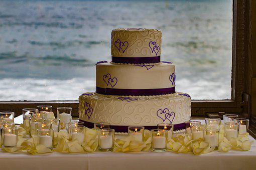 Wedding, Cake, Beach, Hearts, Candles, Ocean