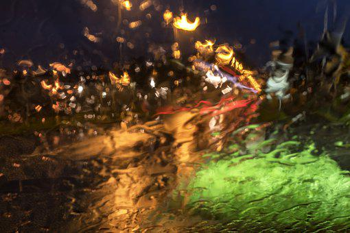 Rain, Glass, Windshield, Liquid, Wet, Color, Lights