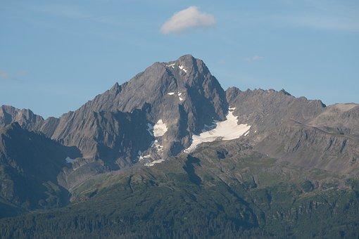 Mountain, Snow, Summer, Alaska, Seward
