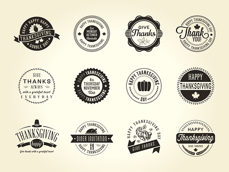 Thanksgiving, Badge, Fall, Text, Retro, Gobble, Icon