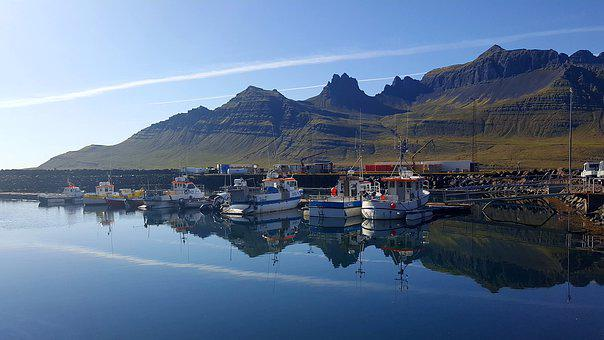Iceland, Port, Boats, Sea, Mountains, Landscape, Blue
