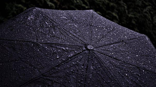 Umbrella, Background, Rainy Weather, Dark, Blue, Rain