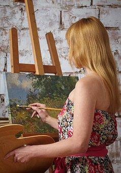 Artist, Easel, Picture, Oil, Brush, Palette, Creativity