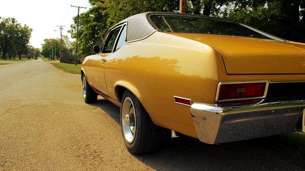 Nova, Muscle, Car, Old, Yellow, Street, Classic