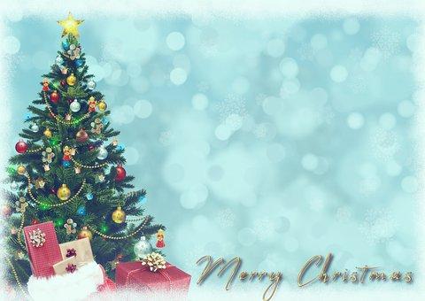 Christmas, Gifts, Christmas Tree, Christmas Card, Bokeh