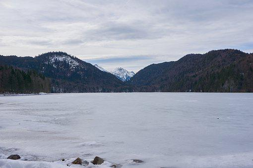 Lake, Frozen, Mountains, Cold, Ice, Snow, Winter