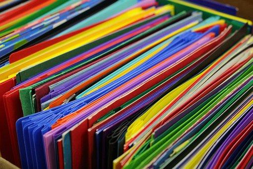 School Supplies, Colorful, Folders, School, Education