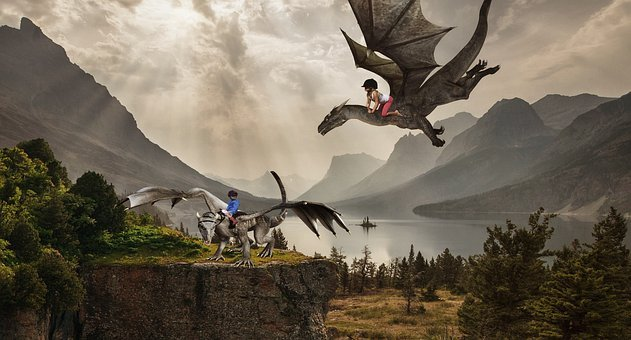 Children, Dragons, Human, Photomontage, Composing