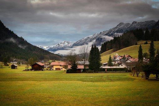 Ettal, Meadow, Mountains, Abendstimmung, Clouds