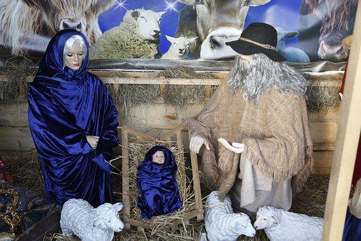 Crib, Figures, Maria, Christmas, Nativity Scene