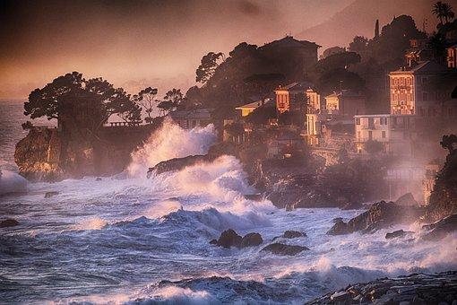 Recco, Sea Storm, Liguria, Landscape, Genoa, Water