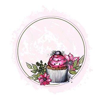 Cupcake, Drawing, Figure, Holiday, Dessert, Sweet, Pink