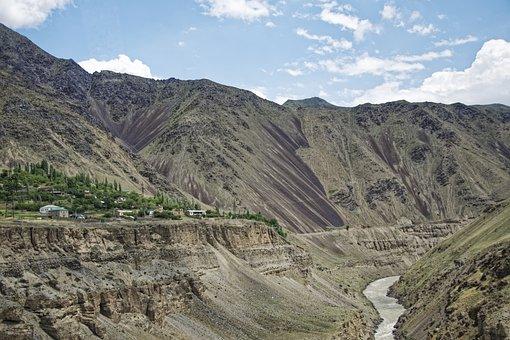 Tajikistan, Novdunak, City, Place, Serafschan River