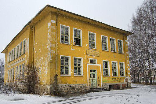 Primary School, Abandoned, Bulgaria, Village, Snowing
