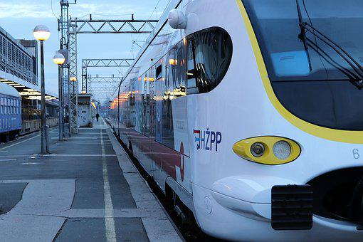 Passenger Train, Arrival, Station, Evening, Railway