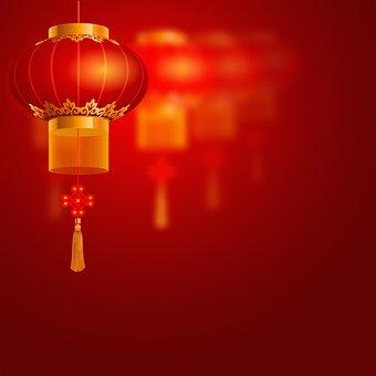 Chinese Background, Red, Lantern