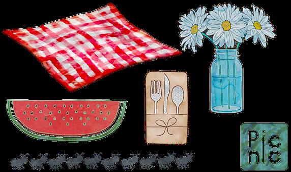 Watercolor Picnic, Food, Wicker, Summer, Garden, Story