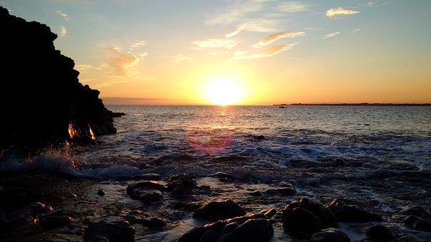 Sunset, Sea, Cliffs, Rocks, Water, Sun, Tide, Sky