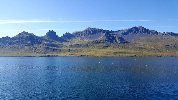 Iceland, Sea, Mountains, Sunny, Ocean, Cordillera, Blue