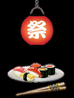 Sushi, Japanese Lantern, Sushi Roll, Chopsticks, Food