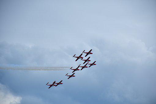Formation, Synchronized Flying, Air, Aviation, Airshow