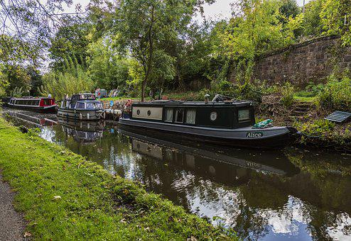 Canal, Water, Boat, Derbyshire, Reflections