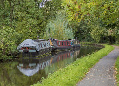 Canal, Boat, Water, Derbyshire, Reflection
