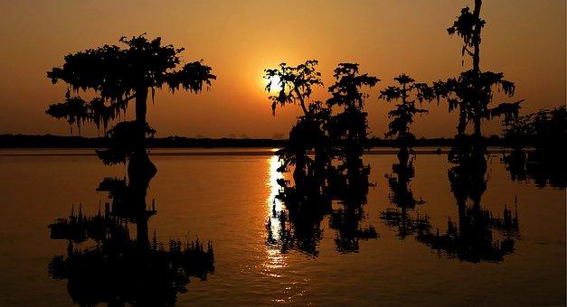 Sunset, Louisiana, Water, Sky, Landscape, Nature