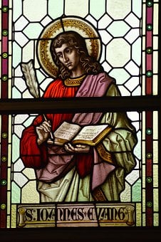 Stained Glass, Window, Church, Young, Man, Apostle